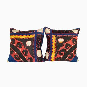 Suzani Embroidered Cushion Covers, Set of 2