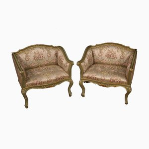 Lacquered, Gilded & Painted Venetian Armchairs, 1930s, Set of 2