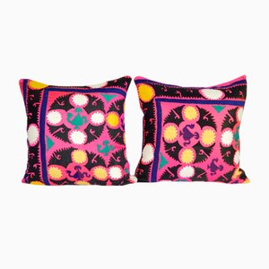 Suzani Cushion Covers Made from a Samarkand Suzani from Uzbekistan, Set of 2