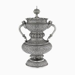 19th Century Indian Cutch Solid Silver Cup & Cover by Mawji Raghavji, Bhuj, 1880s