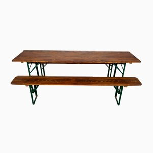 Vintage German Widened Beer Table & Benches , 1970s, Set of 3