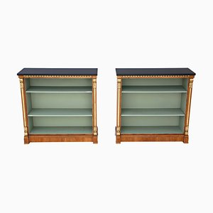 Large Victorian Walnut Adjustable Bookcases, Set of 2