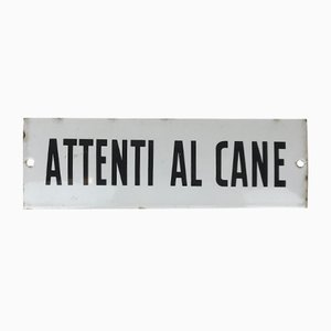 Vintage Italian Enamel Metal Sign Attenti al Cane Beware of the Dog, 1950s