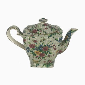 Squared Teapot Queen Anne Needlepoint Pattern from Royal Winton, England, 1930s
