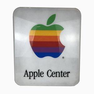 Letrero iluminado Apple Center de plexiglás, años 80