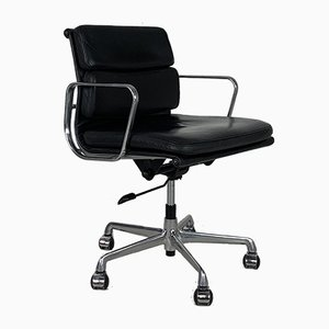 Black Leather Desk Chair by Charles Eames for Herman Miller, 1980s