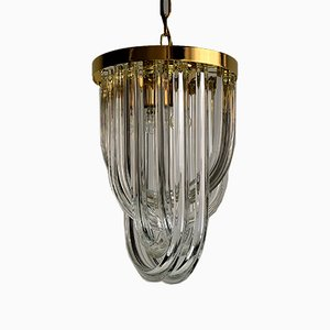 Mid-Century Italian Brass and Crystal Pendant Light Ceiling Lamp from Venini