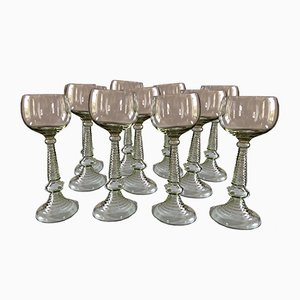 Antique White Wine Glasses, Set of 11