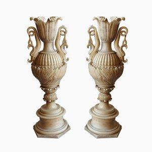 Antike Vasen aus Alabaster, 2er Set