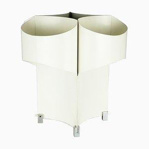 Italienische Verchromte Verchromte & Weiß Lackierte Metall Tischlampe, 1960er
