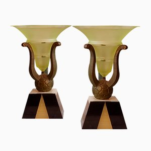 Vintage Art Deco Bronze Vases, Set of 2