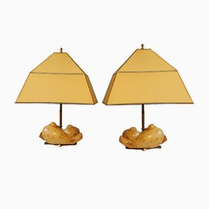 Vintage Alabaster Pigeon Table Lamps, Set of 2