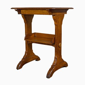 Antique English Victorian Golden Oak Craft Table, 1880s