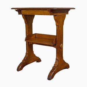 Antique English Victorian Golden Oak Craft Table, 1880s