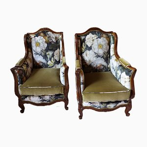 Antique Bergere Lounge Chairs, Set of 2