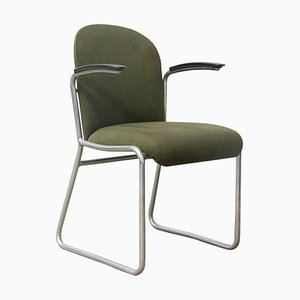 Framed 413R Side Chair in Green Fabric by Willem Hendrik Gispen for Gispen Culemborg, 1950s