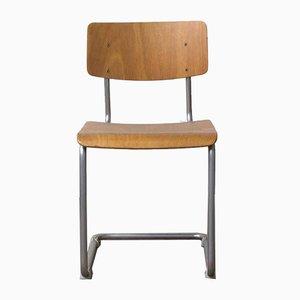 Esszimmerstuhl mit Mattem Chromgestell, Holzsitz & Rückenlehne von Willem Hendrik Gispen für Gispen Culemborg, 1960er
