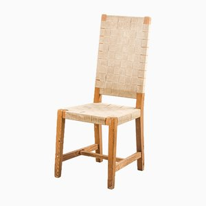 Mid-Century Dining Chairs in Pine and Straps, France, 1950s, Set of 3