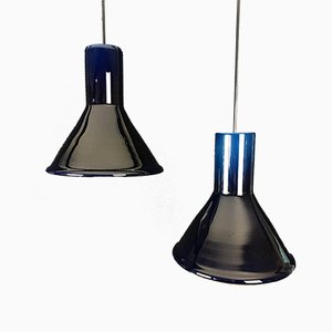 Vintage Danish Blue P&T Mini Pendant Lamps by Michael Bang for Holmegaard, 1970s, Set of 2
