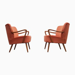 Mid-Century Cocktail Club Chairs in Orange Velvet, 1960s, Set of 2