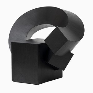 Black Cube Merged Chair by Chulan Kwak