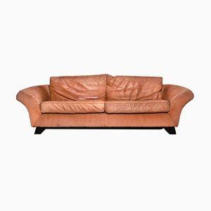 Braunes Vintage Sofa aus Hellem Aufgerautem Nackenleder von Gurian, 1980er