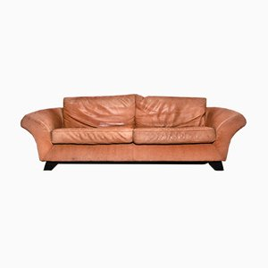 Vintage Brown Thick Roughened Neck-Leather Sofa from Gurian, Italy, 1980s