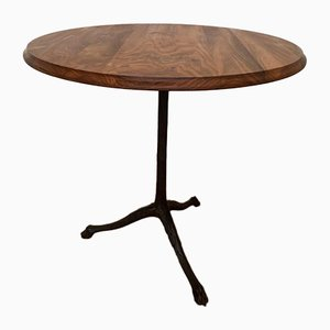 Antique Bistro Table with Walnut Leaf and Cast Base, 1910s