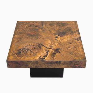 Etched Brass & Oxidized Copper Coffee Table by Bernhard Rohne, 1960s