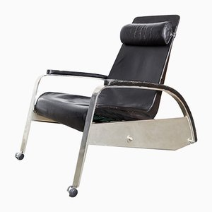 German Steel and Cow Leather Model D80 Grand Repos Lounge Chair by Jean Prouvé for Tecta, 1980s