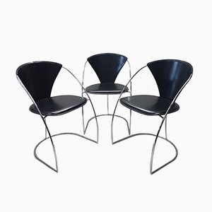 Minimalist Italian Chrome and Leather Dining Chairs from Arrben, 1980s, Set of 3