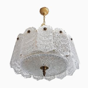 Mid-Century Italian Crystal Glass and Brass Chandelier, 1960s