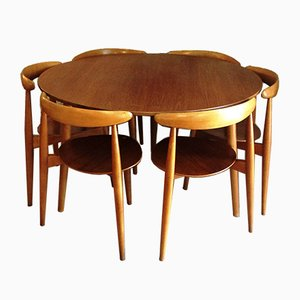 Heart Dining Table & Chairs Set by Hans J. Wegner for Fritz Hansen, 1950s