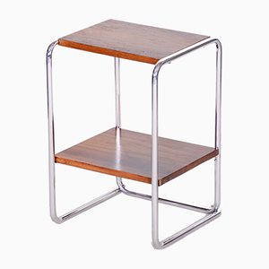 Small Bauhaus Czech Chrome and Walnut Side Table from Mücke Melder, 1930s