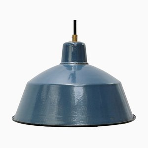 Vintage Industrial Light Blue Enamel Factory Pendant Lamp