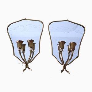 Mid-Century Spiegel mit Lampenhaltern, 2er Set