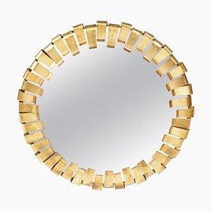 Mid-Century Italian Round Golden Metal Framed Mirror, 1960s