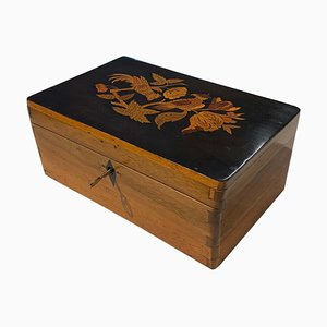 Neoclassical Casket Box in Walnut, Ebony & Colored Inlays, South Germany, 1840s