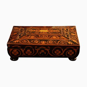 Jewelry Casket Box in Rosewood with Maple Inlays, Austria, 1860s