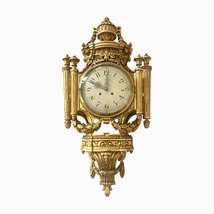 Antique Louis XVI Style Wall Clock in Gold-Plate Enamel and Brass, France