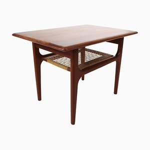 Danish Side Table in Teak with Shelf in Paper Cord, 1960s