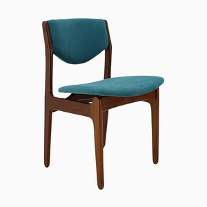 Teak Blue Side Chair, Denmark, 1960s