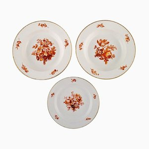 Antique Meissen Porcelain Plates with Orange Hand-Painted Flowers, Set of 3