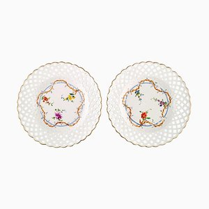 Antique Meissen Plates in Pierced Porcelain with Hand-Painted Floral Motifs, Set of 2