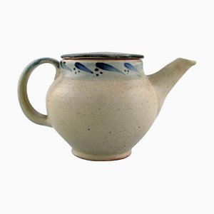 Modernist Lidded Teapot in Glazed Stoneware by Bernard Howell Leach
