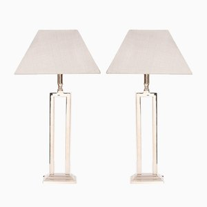Chrome Table Lamps with Shades, 1970s, Set of 2