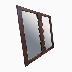 Large Mid-Century Brutalist Walnut Wall Overmantel Mirror from Lane