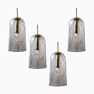 Glass Pendant Light by Doria Leuchten Germany, 1969