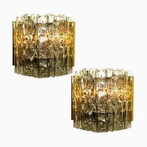 Mid-Century Wall Lights in Brass and Glass by Doria Leuchten Germany, 1970s, Set of 2