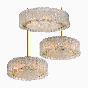 Glass and Brass Light Fixtures by Doria Leuchten Germany, 1960s, Set of 3